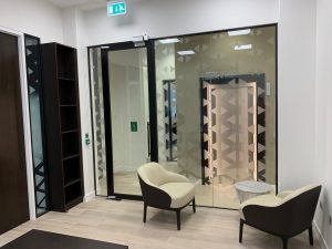 Office partitions fire retardant glass door Bank of Beirut